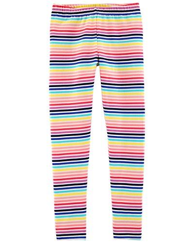 Osh Kosh Girls' Toddler Full Length Legging, Multi Stripe, 5T