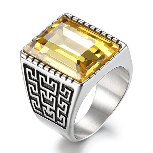 Boho Jewelry Mens Stainless Steel Cz Ring Vintage Large Charming Gemstone Band (8)