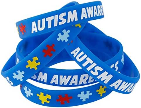 Autism Awareness Wristbands - Colorful Puzzle Pieces Silicone Bracelets