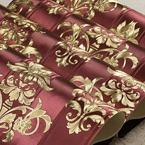 3D Damascus Luxury Gold Damask Wallpapers European Vinyl Textured Wall Paper Living Room Bedroom Floral Striped Wallpaper Roll@Z05001 Red_10mx53cm ()