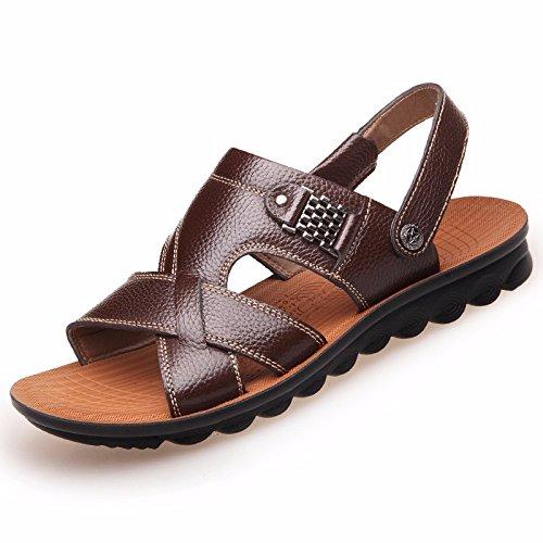Uomini sandali Uomini vera pelle Il nuovo Spiaggia scarpa gioventù estate tendenza alunno sandali Tempo libero scarpa ,Marrone A,US=10,UK=9.5,EU=44,CN=46