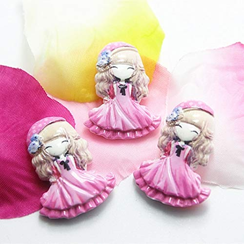 ZAMTAC 10pcs/lot Very Cute Resin Girls with Pink Skirt Flat Back cabochon for DIY Craft Scrapbooking,RC11082b