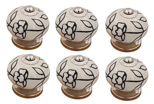 THDC Painted Ceramic Knob, Cabinet Knob, Drawer Knob, Dresser Knob, Handmade, Hand Painted, Vintage Knob (Set Of 6) (Black Line Flower)