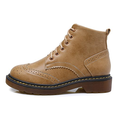 High Boot Brogues Round Toe Top Ankle Brown Lady¡¯s Shoes 6 Smilun Eye Classic EHTqnw0