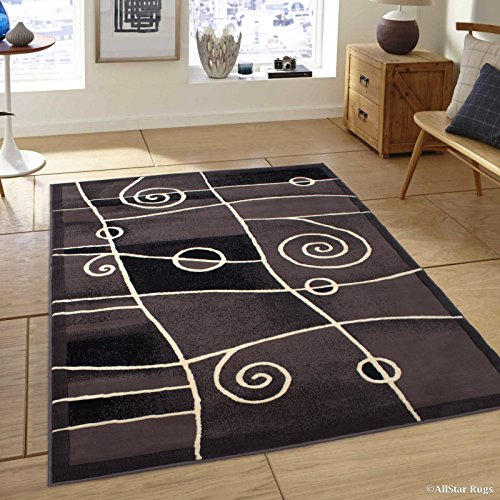 Allstar 5 X 7 Khaki Combo Modern And Chic Swirl Design Area Rug (5' 2