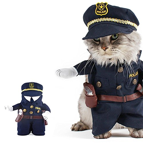 UEETEK Funny Dog Cat Jeans Uniform Pet Clothes Costume Dress Cosplay for Party Canival,Size M(within 10kg)