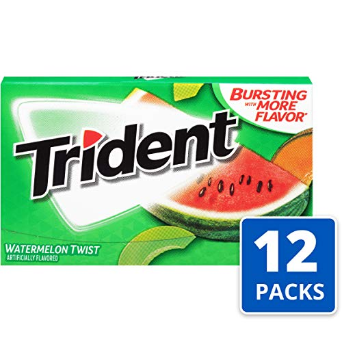 Trident Watermelon Twist Sugar Free Gum - with Xylitol - 12 Packs (168 Pieces Total) (Watermelon Xylitol)