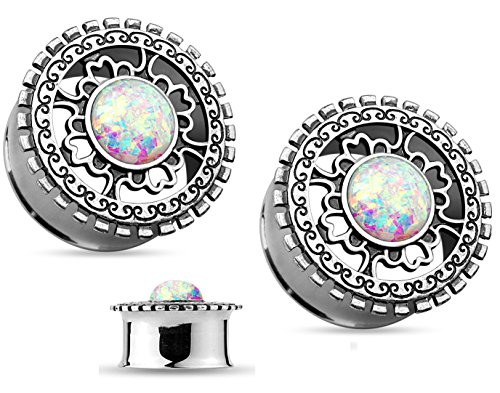 (Pair of Imitation Opal Glitter Tribal Shield Top Double Flared Ear Plug Gauges Piercings - 11 Sizes Available (4GA (5mm)))
