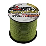 Ashconfish Super Strong Braided Fishing Line-4 Strands Fishing Wire 300M/328Yards Fishing String 100LB-Abrasion Resistant Incredible Superline Zero Stretch Small Diameter -Army Green