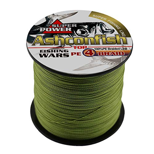 Ashconfish Super Strong Braided Fishing Line-4 Strands Fishing Wire 300M/328Yards Fishing String 30LB-Abrasion Resistant Incredible Superline Zero Stretch Small Diameter -Army Green