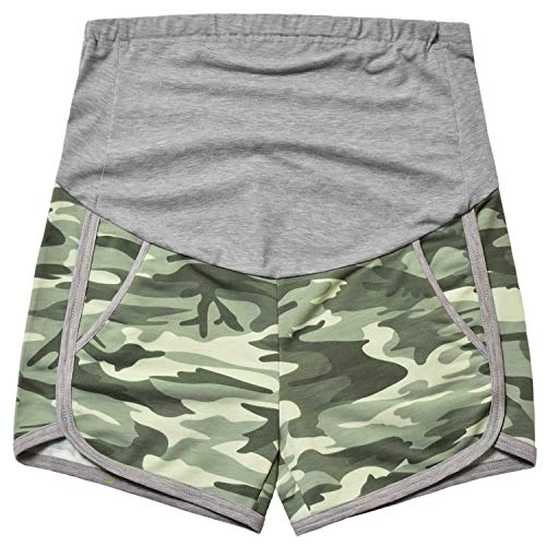 GINKANA Camouflage Maternity Workout Shorts Summer Pregnancy Casual Full Panel Short Relaxed Fit