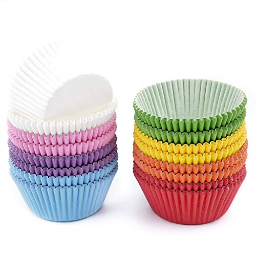 Bakuwe Paper Baking Cups, Standard Cupcake Liners Bright Colorful 400-Count, 8 Colors