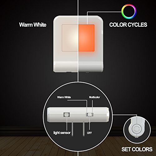 Plug in LED Night Light with Smart Dusk to Dawn Sensor, MAZ-TEK Multi-Color Changeable Nightlights, Energy Efficient Night Lamp for Bedroom, Baby Room, Kitchen, Hallway, Stairway, 2 Pack