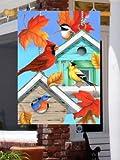 0454FL Autumn Colors Birdhouses Large Flag For Sale