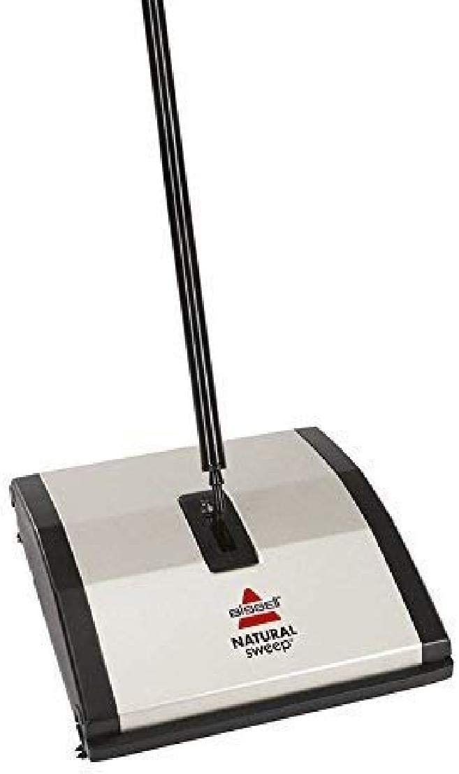 Bissell Natural Sweep Carpet and Floor Sweeper with Dual Rotating System and 2 Corner Edge Brushes, 92N0A, Silver