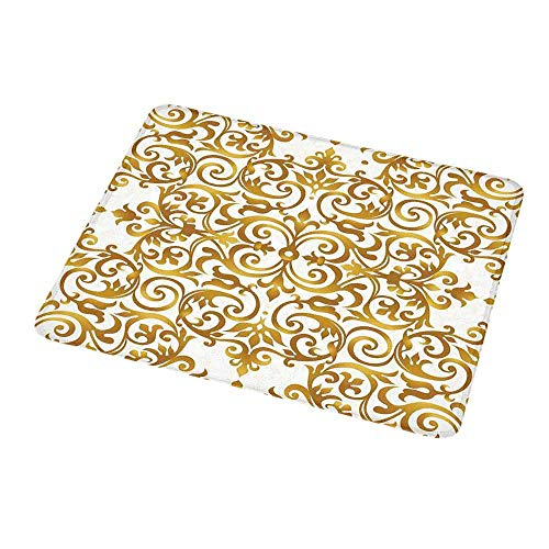 Personalized Mouse Pad Kitchen Decor,Victorian Golden Lace Antique Baroque Pattern Oriental Ottoman Royal Square Pattern,White Gold,Customized Desktop Laptop Gaming Mouse Pad 9.8