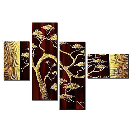 Okbonn-Tree Wall Art Oil Paintings on Canvas Brown and Red 4 Panel 3D Hand Painted Large Modern Abstract Landscape Art Stretch and Framed Wall Art for Living Room Dining Room Bedroom Office
