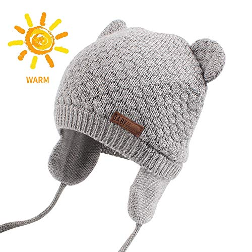 Baby Beanie Hat for Winter with Earfalp Cute Bear Kids Toddler Girls Boys Warm Knit Cap for 0-3Years (Grey, L(2-3Years)) ()