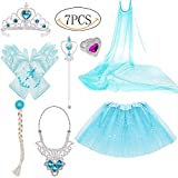 Princess Dress Up Costume Accessories Elsa Set For Princess cosplay Gloves Tiara Wand and Necklace(7 Pieces)