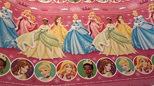 [Christmas Wrapping Princess Holiday Paper Gift Greetings Sleeping Beauty Belle Cinderella Tiana 1 Roll Design Festive Wrap Disney] (Tiana Costume For Infant)