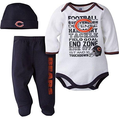 Gerber Childrenswear NFL Chicago Bears Bodysuit, Pants & Cap Set, 3-6 Months, Blue Chicago Bears Infant Apparel