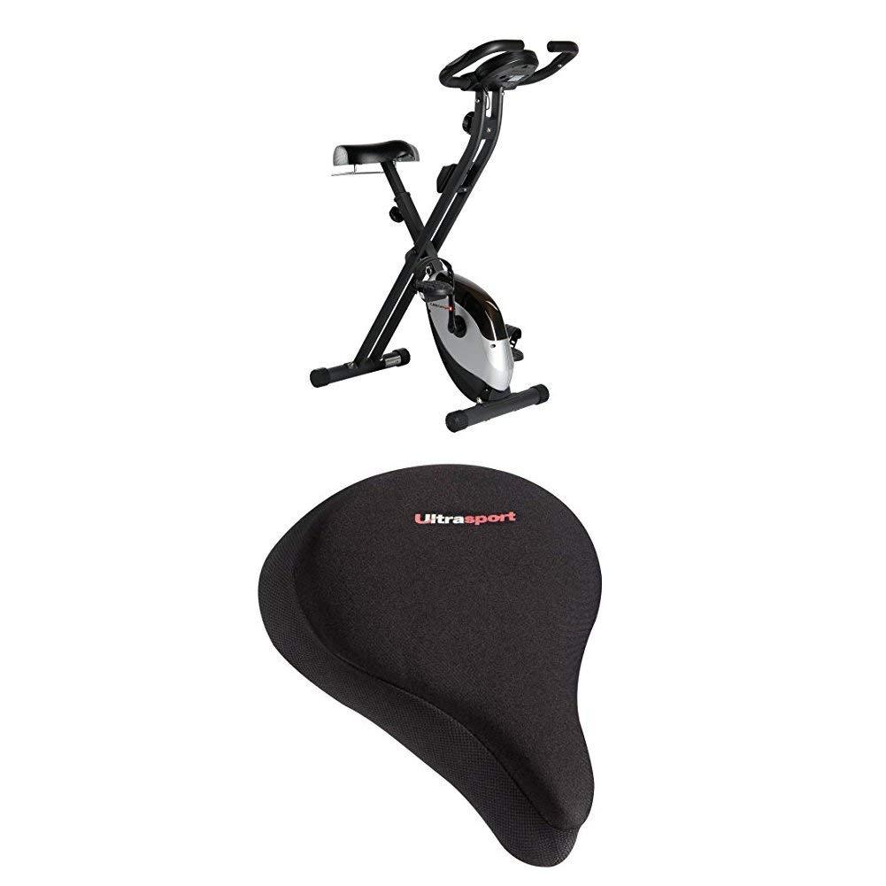 Ultrasport F-Bike Heavy, Fahrradtrainer, Heimtrainer, Fitnessfahrrad mit Trainingscomputer und Handpulssensoren, klappbar + Komfort Sattelbezug mit Geleinlage, Fahrradsattel Komfort Gel Bezug