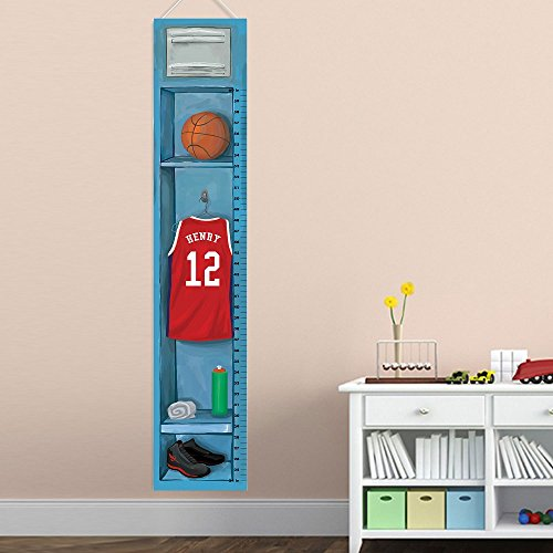 (Personalized Sports Locker Growth Chart for Boys - Basketball)