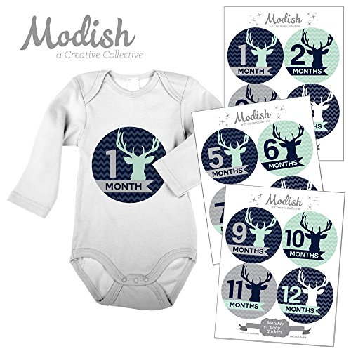 Modish Labels, 12 Monthly Baby Stickers, Baby Boy, Woodland, Deer, Antlers, Chevron, Mint, Navy Blue, Gray, Grey, Baby Month Stickers, Baby Book Keepsake, Photo Prop, Baby Shower Gift by Modish Labels