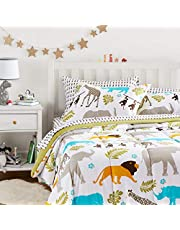 Amazon Basics Kid's Bed-in-a-Bag - Soft, Easy-Wash Microfiber - Full/Queen, Multi-Color Zoo Animals