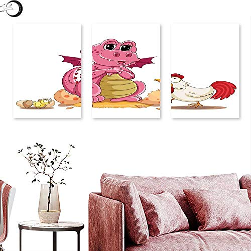 J Chief Sky Jurassic Decor Wall hangings Illustration of Hen Chicken and Baby Dinosaur Wings Out from Egg Kids Childrens Print Triptych Wall Art Triptych Art Canvas W 12