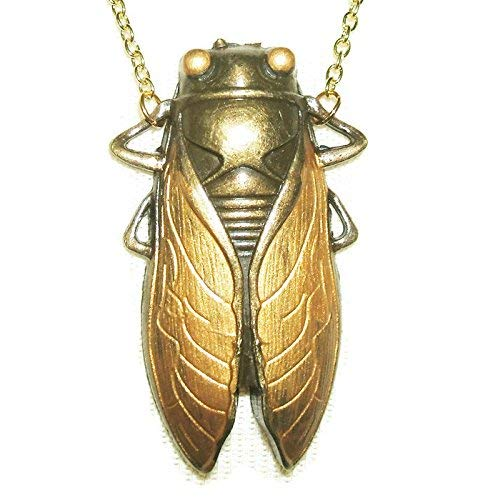 CICADA Necklace GOLDEN Wings Egyptian Revival Gold Plt Good Luck Symbol]()