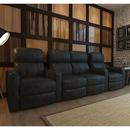 Octane Turbo XL700 4 Seater Middle Loveseat Bonded Leather Home Theater Seating 4 Leather Home Theater