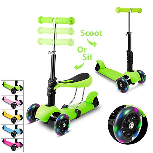 WeSkate Kids Children Scooter 3 Wheel Kick Scooter with Adjustable Height Removable & Adjustable Seat, T-Handlebar and LED Light Up Wheel for Children Boys Girls 2-6Years Old
