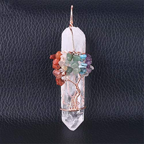 Natural White Crystal Big Pendant Reiki Chakra Tree Of Life Rose Gold Color Handmade Wire Wrapped Pendant For Necklace A