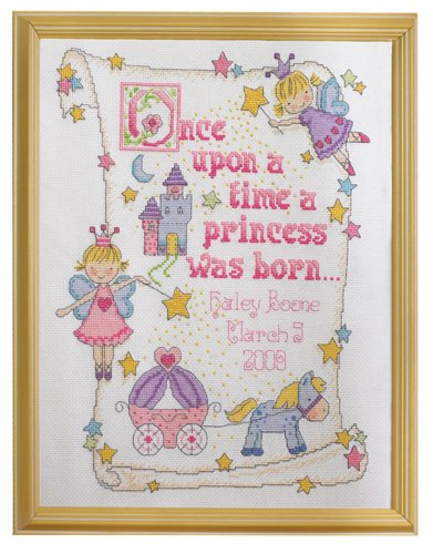 - Bucilla Counted Cross Stitch Birth Record Kit, 10 by 13-Inch, 45328 Princess