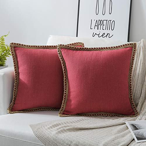 Phantoscope Pack of 2 Farmhouse Burlap Linen Trimmed Tailored Edges Throw Pillow Case Cushion Covers Red 18