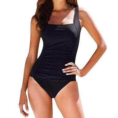 25e48ebdd058b Retro One Piece Swimsuits for Women Square Neck Tummy Control Shirred  Monokini by Lowprofile Black