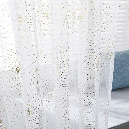 Eihan Embroidered Tulle Curtains Simple Fashion Curtains for Living Room Bedroom Home Textile White Fireworks Bronzing