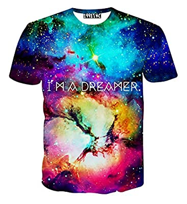 FaPlus Universe Starry Sky 3D Print T Shirt Men's Casual T-Shirts