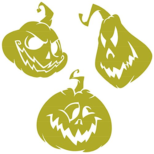 Scary Halloween Pumkins Head Vinyl Sticker Decal (Gold, 11