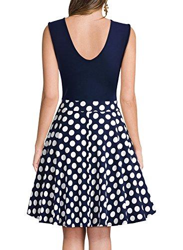6bf462d6445129 Miusol Damen Sommer Kleid VAusschnitt Ärmellos Blume Patterned Mini ...