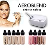 make up kit for starters - Aeroblend Airbrush Makeup Personal Starter Kit - Professional Cosmetic Airbrush Makeup System - MEDIUM Foundation - Color Match Guarantee - Full 1-Year Warranty
