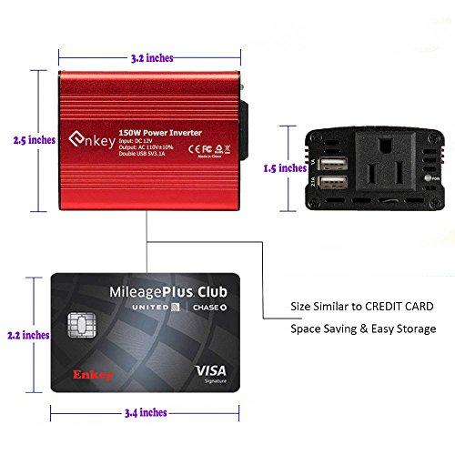 Enkey 150w Car Power Inverter Dc 12v To 110v Ac Converter