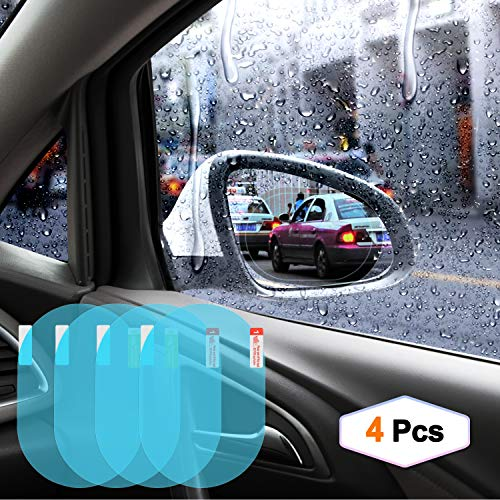 Odoland Car Rearview Mirror Film, Car Rearview Mirror Anti-Water Anti-Mist Film Anti-Fog Anti-Explosion Anti-Glare Film, Waterproof Rearview Mirror Window Clear Film for Cars (Oval, 4PCs) ()