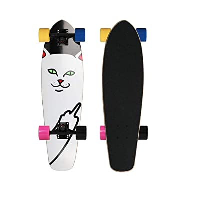 Aniseed Cruiser Skateboards Deck Wood Complete Skateboard 27 Inch Longboard White Cat : Sports & Outdoors