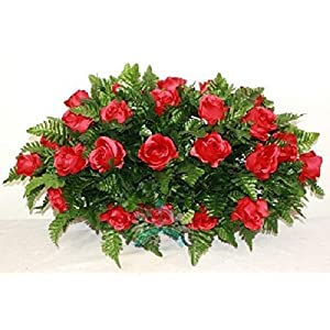 Beautiful XL Red Roses Cemetery Saddle Flower Arrangement 66