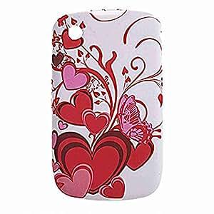 Move & Moving (TM) Cubierta blanca corazón carcasa de plástico Carcasa para BlackBerry 8520
