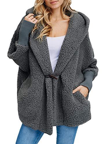 Pocket Lapel Button - Happy Sailed Women Lapel Hooded Fuzzy Faux Shearling Button Fleece Open Front Oversized Outwear Jackets Pockets Coat Medium Gray