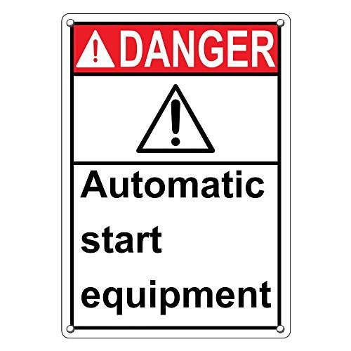 Vertical ANSI DANGER Automatic Start Equipment Sign with English Text and Symbol (Danger Automatic Start Equipment)