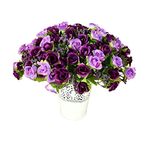 21 Heads Artificial Roses Silk Flower Bouquet for Party Home Wedding Decoration (Violet)